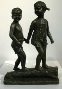 Db Bronze Girl And Boy On Log From Blog