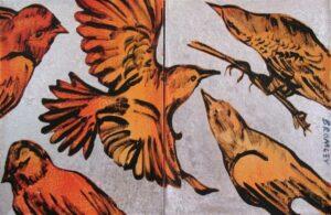 Db130 Birds Dipych 2 Panels 31X41Cm From Blog