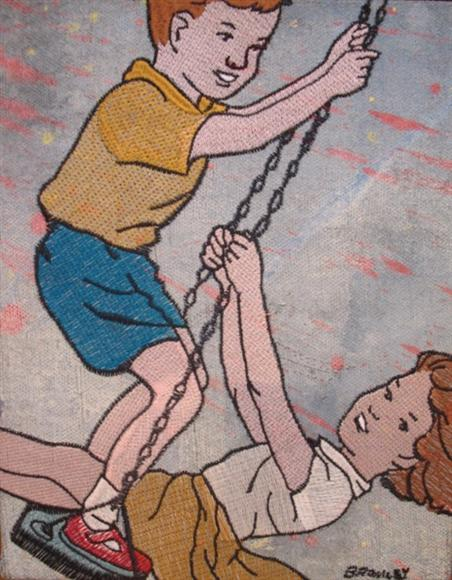 Db153 Boy And Girl On Swing Embroidery 26X31Cm From Blog