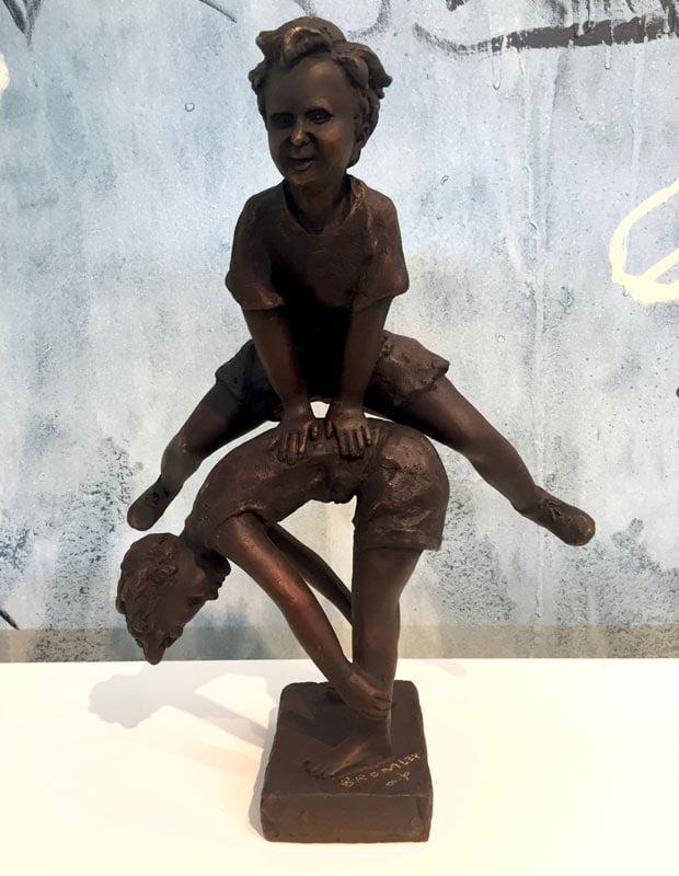 David Bromley Leapfrog Boy Over Boy Bronze Sculpture1