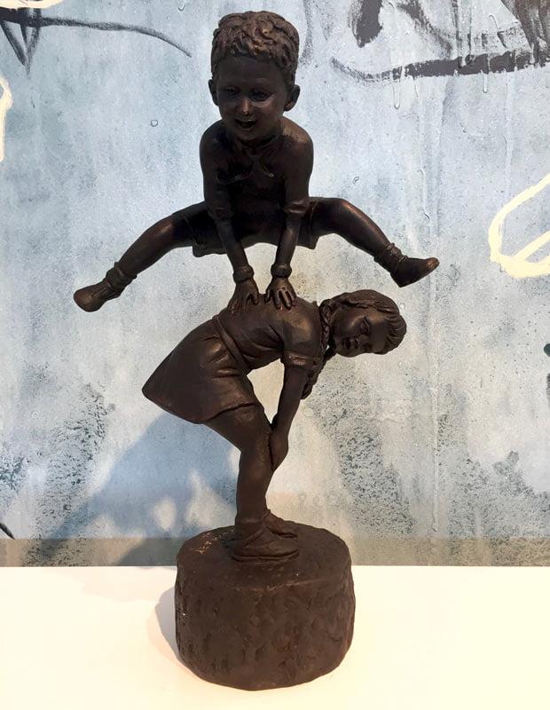 David Bromley Leapfrog Boy Over Girl 1 Bronze Sculpture