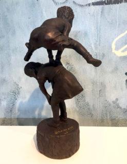 David Bromley Leapfrog Boy over Girl Bronze Sculpture 3 1 247x319