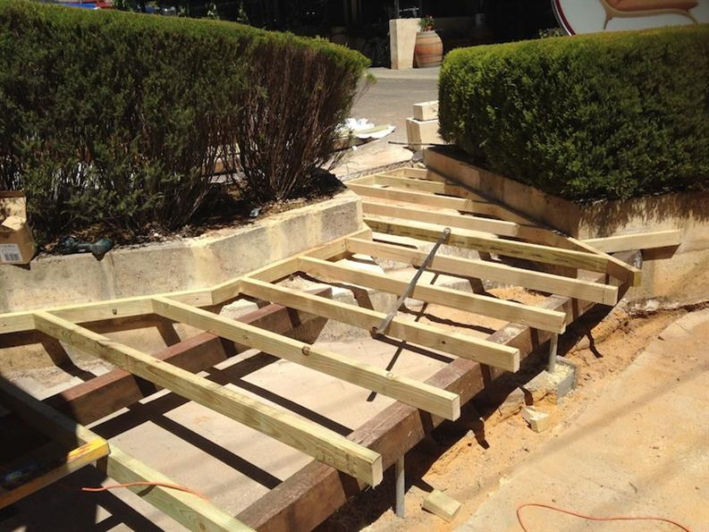 Framework for the decking fine furniture design fine for Decking framework timber