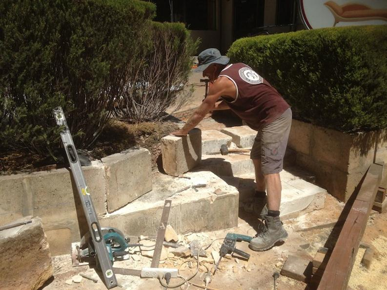 Getting Rid Of The Old Limestone Steps From The Carpark