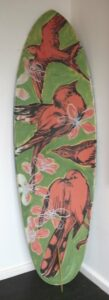 Db119 Surfboard Surfboard Back Red Finches