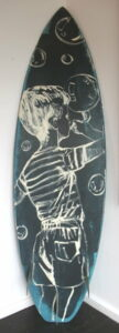 Db96 Surfboard Back Black And White Bubble Boy
