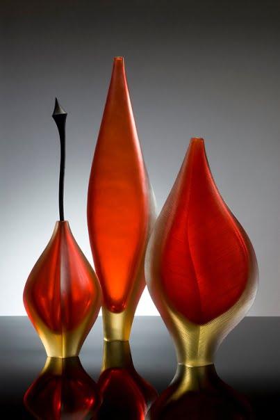 Edols and Elliott   Series of 3 Red Forms Fine Art