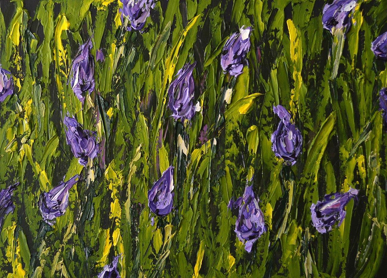 Felicia Aroney Purple Tulips 83X61Cm Acrylic On Black Linen New