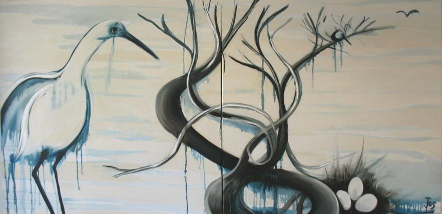 Jos Myers The Water Birds 102X102Cm 2 Panels