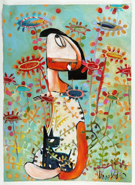 The Garden And The Little Black Dog 102X67