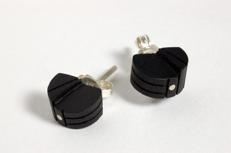 Untitled stud earrings by Brendon Collins timber and silver 75dpi 768x511