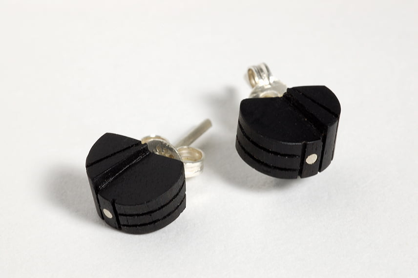 Untitled Stud Earrings By Brendon Collins Timber And Silver 75Dpi