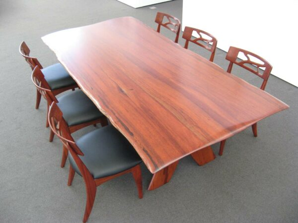 Baby Fallen Giant Jarrah Dining Table With Filigree Chairs Top