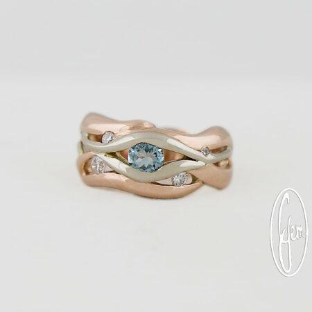 D28b Gemma Baker Jeweller Aquamarine Diamond Ring