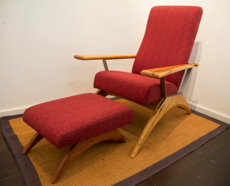 Gnarabup Chair And Foot Stool Red Fabric