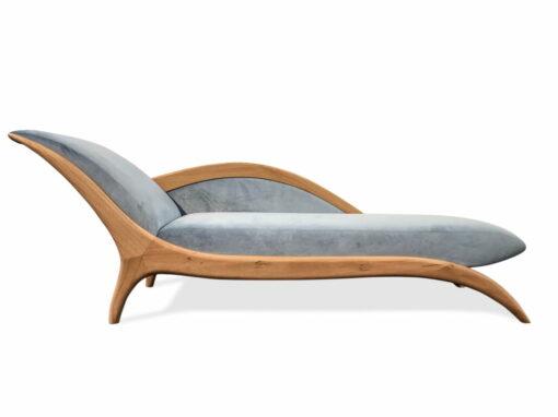 Sues Chaise Lounge Blue Velvet Front