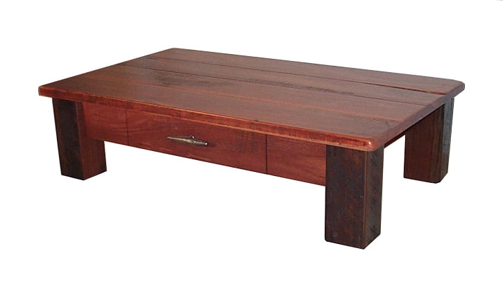 Homesteader Jarrah Coffee Table with Draw Fine Art