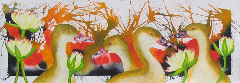 Jasmine Jan Plumed Whistleing Ducks and Water lilies 768x266
