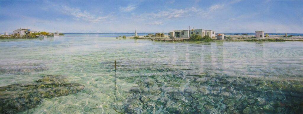 Latest Arrival   LARRY MITCHELL painting Lagoon Post Office Fine Art