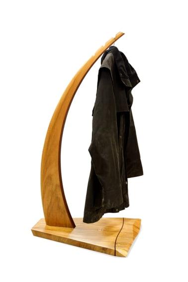 Tan Coat Rack With Coat