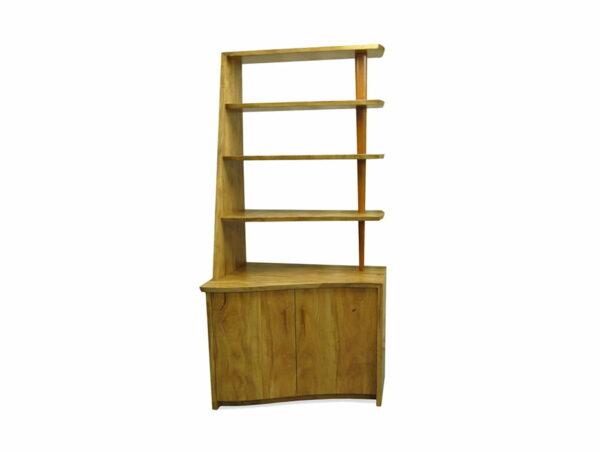 Corner Marri Timber Bookcase With Storage