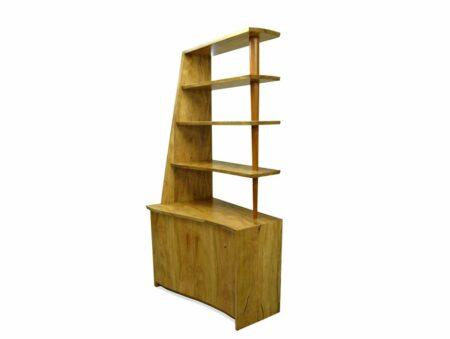 Corner Marri Timber Bookcase With Storage Angle