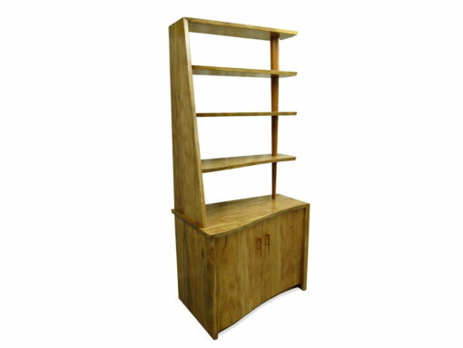 Corner Marri Timber Bookcase With Storage Side
