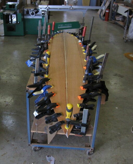 Surfboard 7 6 Sheoak Bottom Glued Onto Frame