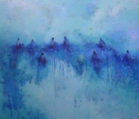 Jos Myers Aqua Glass Off Painting
