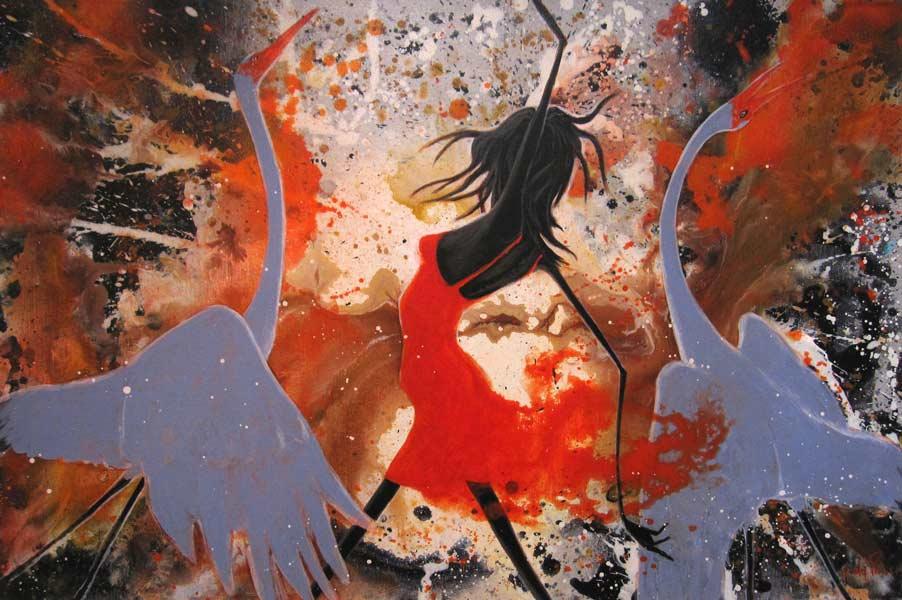 Judy Prosser Bushfire Dancers 91Cm X 61Cm