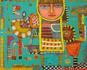 Yolande Barker Girl With Flowers 46X66Cm 1550
