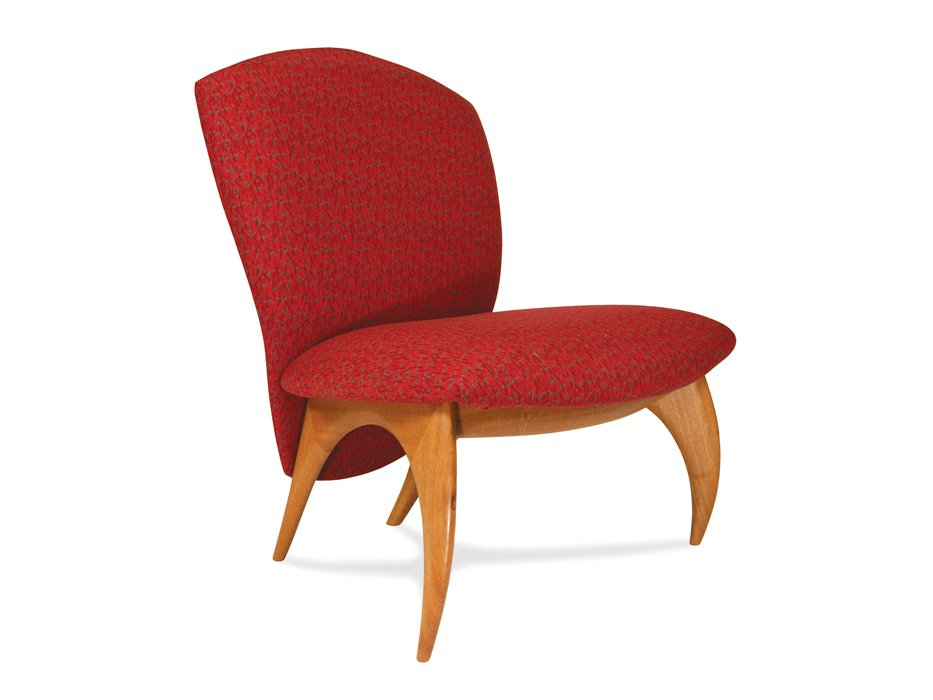 Cray Lounge Chair Marri Timber With Red Fabric