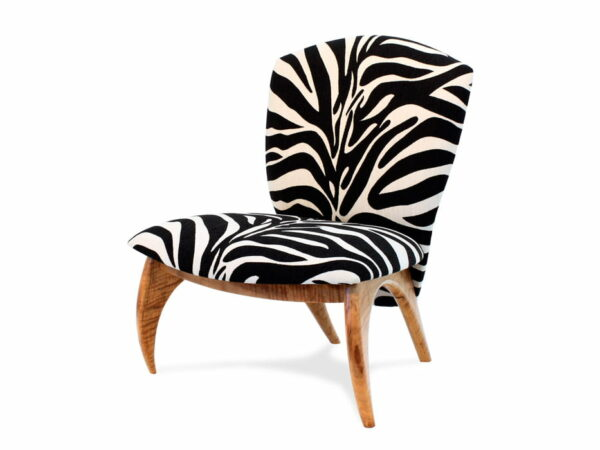 Cray Lounge Chair Zebra Fabric And Marri Timber