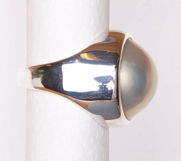 Jane Liddon Polished Silver Pearl Ring