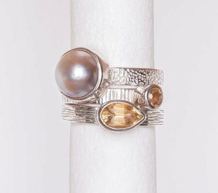 Jane Liddon Triple Ring Mabe Pearl