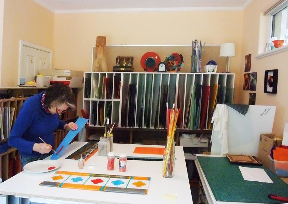 Margaret Heenan Glass Artist Studio Applying Enamels