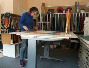 Margaret-Heenan-Glass-Artist-in-Studio-Making-Decisions