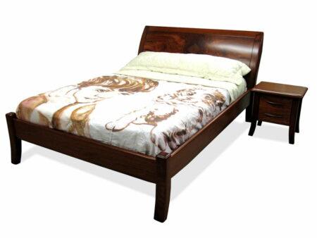 Modern Jarrah Sleigh Bed With Bedside Cabinets
