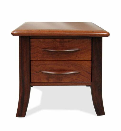 Modern Sleigh Jarrah Bedside Table