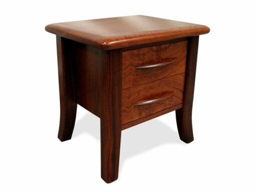 Modern Sleigh Jarrah Bedside Table Angle