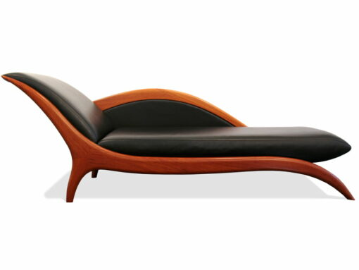 Sues Chaise Lounge Sheoak Timber With Black Leather