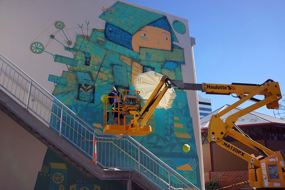 Kyle Hughes Odgers Painting Bunbury Mural