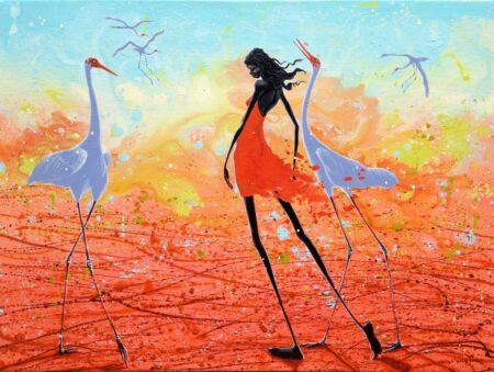 Judy Prosser Sandfire Girl And Brolgas 122x91cm