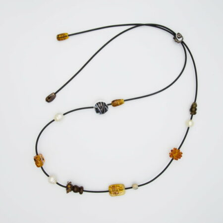 Evelyn Henschke Brown Glass Bead 3 Pearl Necklace