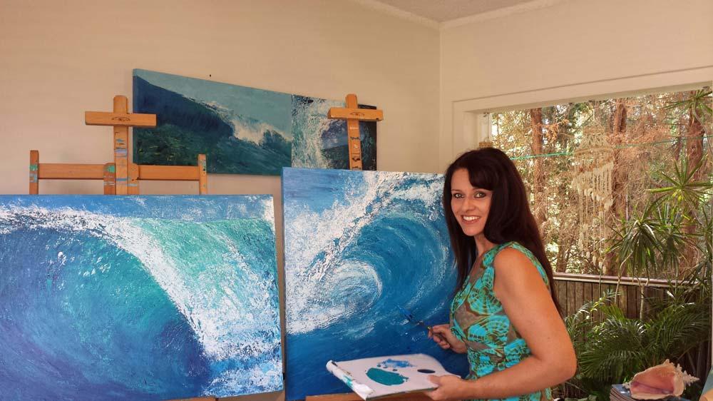 Tahli And Chelle Tahli Painting In Studio