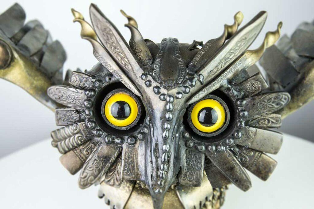 Daniel Fisher Medieval Owl Sculpture Face Detail