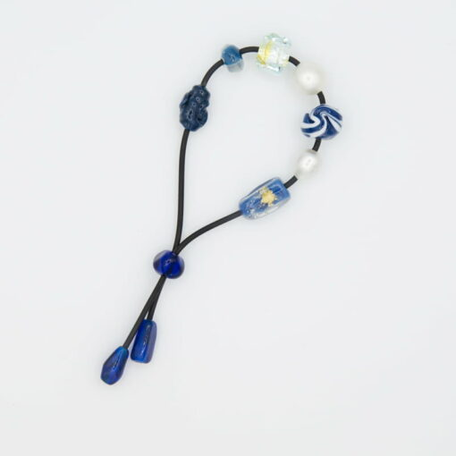 evelyn henschke pearl blue glass bead bracelet