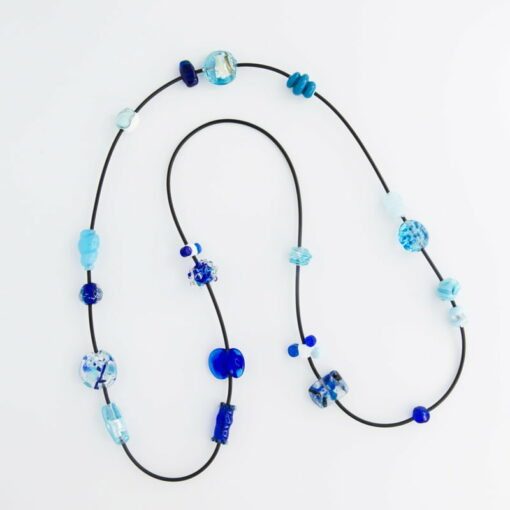 evelyn henschke blue glass beads necklace