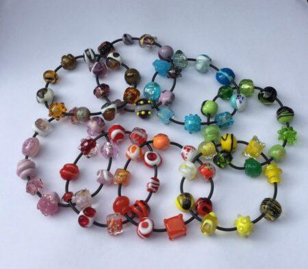 Evelyn Henschke Glass Bead Bracelets Assorted Colours