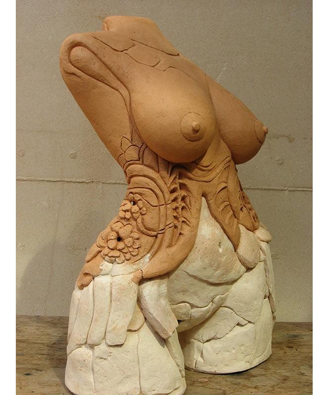 Lauren Rudd The Red Corsett Femal Torso Sculpture Front